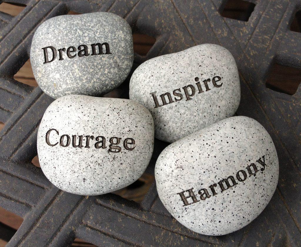 Self belief - stones with inspiring words